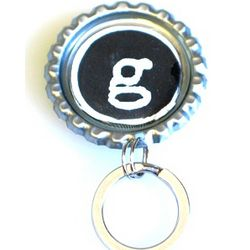 Bottle Cap Initial Eye Glass Keeper
