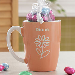 Personalized Peach Lady's Mug with Chocolate Eggs