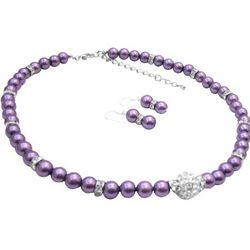 CZ and Purple Pearls Necklace and Earrings Set