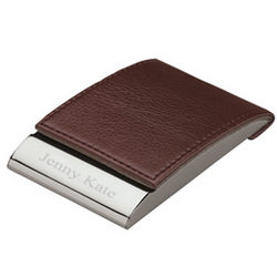Personalized Magnetic Closure Leather Business Card Holder