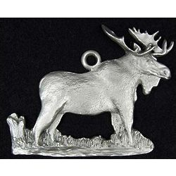 Pewter Moose Holiday Ornament