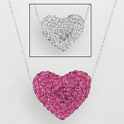 Sterling Silver Crystal Reversible Heart Pendant