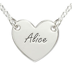 Sterling Silver Engraved Heart Necklace with Rollo Chain