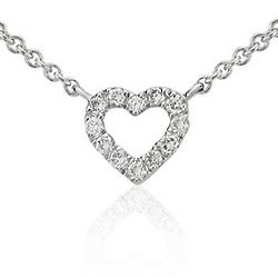 14K White Gold Mini Heart Diamond Necklace