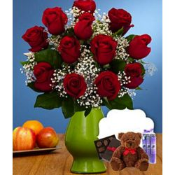12 Red Roses with Teddy Bear, Chocolates, and Spa Treatment