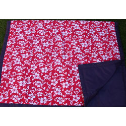 Red Hawaii Floral Picnic Blanket with Carry Bag
