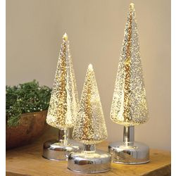 Silver Glass Lighted Christmas Trees