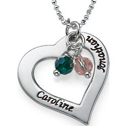 Personalized Hollow Heart Necklace with Birthstones