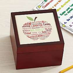 Apple for Teacher Personalized Tile Box