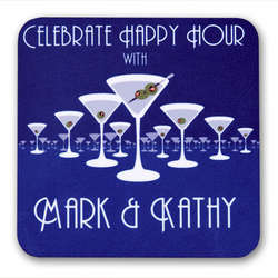 Martini Horizon Personalized Drink Coasters