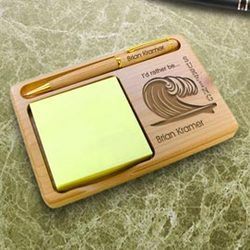 Personalized Surfing Wooden Notepad & Pen Holder