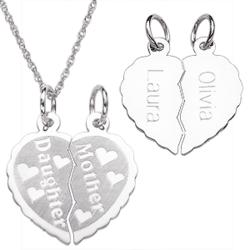 Sterling Silver Mother/Daughter Engraved Share-able Pendant