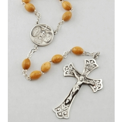 Olivewood and Sterling Silver Rosary