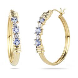 Diamond and Tanzanite Earrings in 14K Yellow Gold