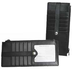 Credit Card Wallet with Zippered Currency Compartment