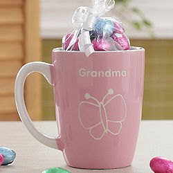 Personalized Pink Lady's Mug with Chocolate Eggs