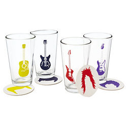 Guitar Glasses and Coasters Set