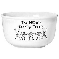 Dancing Skeletons Personalized Family Trick or Treat Bowl