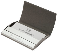 Personalized Executive Black Leather Business Card Case