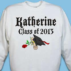 Diploma Rose Class Of Personalized Graduation Sweatshirt