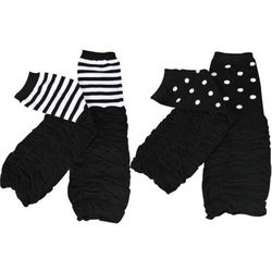 Black Stripes & Dots Baby Leg Warmers