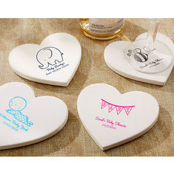 Baby Themed Personalized Heart-Shaped Stone Coasters