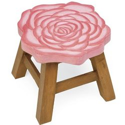 Hand-Carved Wooden Footstool