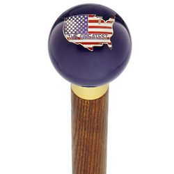 USA Flag Translucent Blue Round Knob Cane
