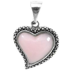 Pink Opal Heart-Shaped Antiqued Silver Pendant