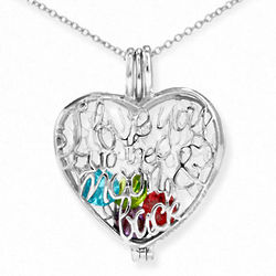 To the Moon and Back Silver Heart Birthstone Locket