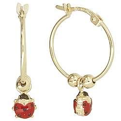 Enamel Ladybug Hoop Earrings in 14k Gold