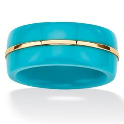 14K Gold Viennese Turquoise Women's Ring Band