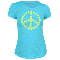 Tennis Peace Turquoise Acid Wash Tee