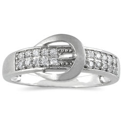 Diamond Buckle Ring in 10k White Gold