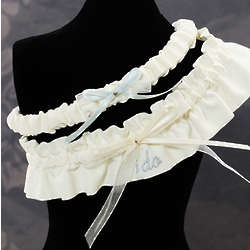 Ivory Embroidered I Do Wedding Garters