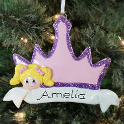 Personalized Blonde Hair Princess Crown Ornament
