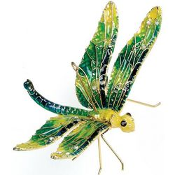 Articulated Green Metal Dragonfly Ornament