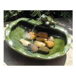 Glazed Green Ceramic Frog Solar Fountain