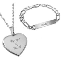 Women's Engraved Locket and Men's ID Bracelet