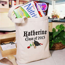 Diploma Rose Class Of Personalized Graduation Canvas Tote Bag