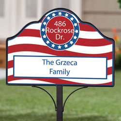Personalized Magnetic Stars and Stripe Yard Sign