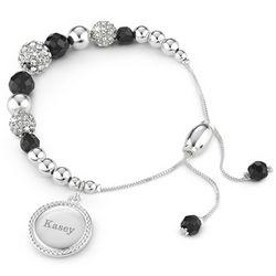Personalized Black Agate Pave Lariat Bracelet