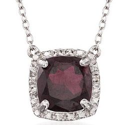 Sterling Silver Garnet Necklace with Diamonds