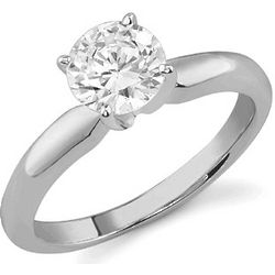 14K White Gold CZ Solitaire Ring