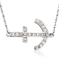 Sideways Anchor Diamond Necklace in Silver