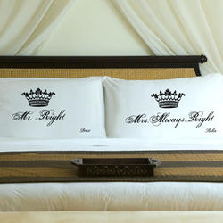 Couples Personalized Royal Correctness Black & White Pillow Cases