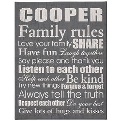Personalized Family Rules Canvas in Gray