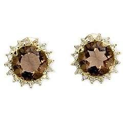 14k Gold Smokey Quartz and Diamond Stud Earrings