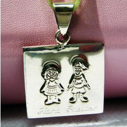 Personalized Sterling Silver Mother's Charm Boy and Girl