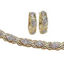 Gold Overlay Genuine Diamond Tennis Bracelet and Earrings